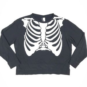 H&M Skeleton Graphic Long Sleeve Top Divided